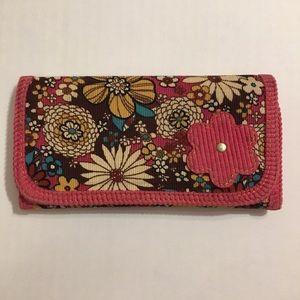 Handbags - Tri-Fold Floral Pink Wallet